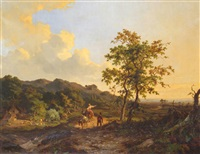 landscape with travellers on a road by jan willem van borselen
