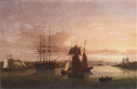 merchantmen, sail and steam, lying in cork harbour at sunset by george atkinson