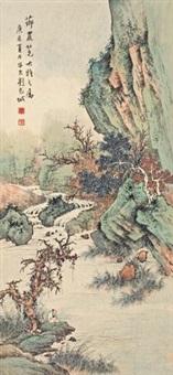 秋山独钓 (fishing in autumn mountains) by liu zijiu