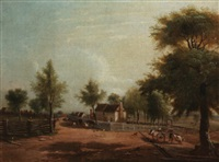 landscape with a farm by american school-southern (19)