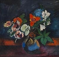 flowers in a blue vase by pranas domsaitis