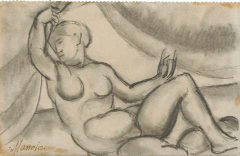 femme couchée from a sketchbook by manolo manuel hugue