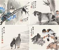 意趣 (四帧 二件) (bird and figure) (in 4 parts) by ren xia