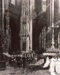 interieur der lorenzkirche in nürnberg mit brautpaar bei der trauung... by wilhelm ritter