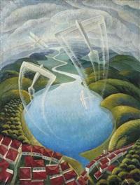 aerei-lago-nuvole by gerardo dottori