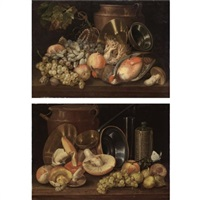 a still life with fruit, kitchen pots and two birds (+ a still life with fruit, kitchen pots, mushrooms and a butterfly; pair) by italian school-northern (19)