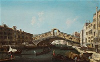 die rialtobrücke in venedig, il ponte di rialto con le rive del ferro e del vin by francesco albotti