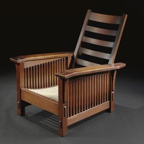 Slant Arm Spindle Morris Chair, Model No. 369 By Gustav Stickley