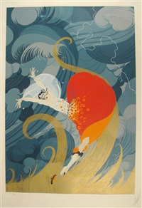 woman caught in storm by erté