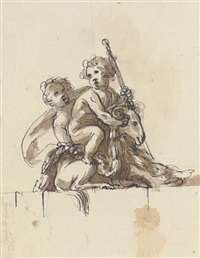 two putti with a goat by peter anton von verschaffelt