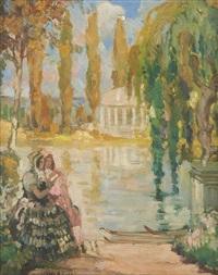 conversation au bord du lac by fernand allard l'olivier