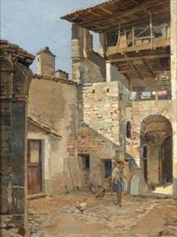 italienischer hof mit mutter und kind by achille solari