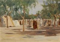 jour de fête à aïn el arba (algérie) by jean-célestin-tancrède bastet
