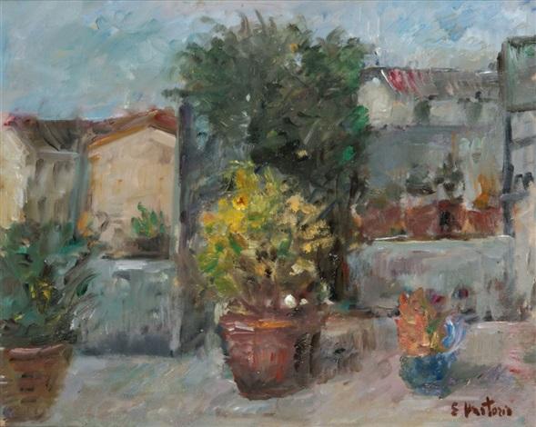 Terrazzo a Milano Dachgarten mit blühenden Topfpflanzen by Ezio ...
