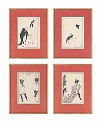 erotic scenes (4 works) by aubrey vincent beardsley