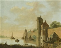 a river landscape with a walled castle and figures boarding a ferry by jan hendrik verheyen