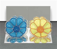 inflatable flowers (short blue, short yellow) by jeff koons