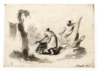 lavandaie al pozzo; lavandaia (2 works) by pietro antonio novelli