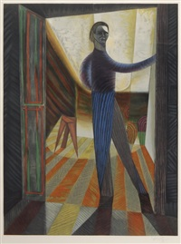 stehender mann in raum by victor vasarely
