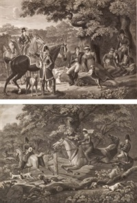 zwei szenen adelige gesellschaft bei der jagd zu pferd by jean-pierre-marie jazet