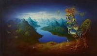 phantastische landschaft mit hahn by kurt mikula