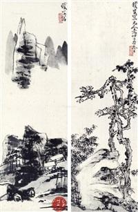仿元人笔意 镜心 水墨纸本 (2 works) by liang qi