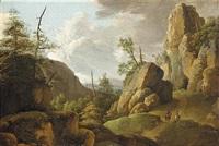 an extensive mountainous landscape with horsemen on a road by jan van aken