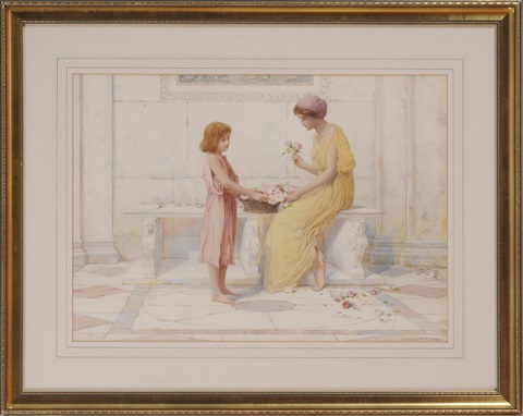 a gift of roses (+ conversation at the well; pair) by henry ryland