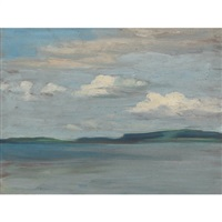 cloud and lake landscape (+ cloud and lake; pair) by beatrice hagarty robertson