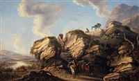 paesaggio roccioso con viandanti by pandolfo reschi