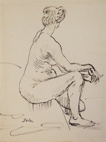 study of a female nude seated by augustus edwin john