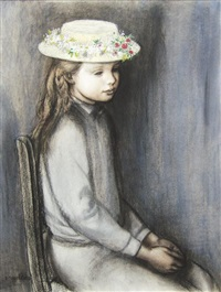 fillete assise au chapeau fleurie by paul smolders