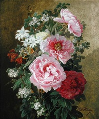 still life of roses and apple blossom by charles frederick hurten