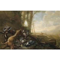 a still life with dead game, a hare and a gun, in a landscape by michiel simons