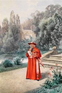 kardinal beim lesen eines briefes in einem barockgarten by willy weber