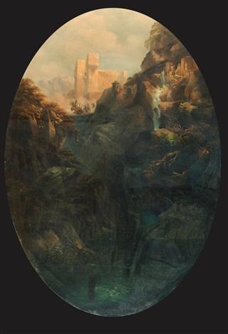 paesaggio montano con castello sullo sfondo e schermaglia tra soldati su un ponte by massimo dazeglio