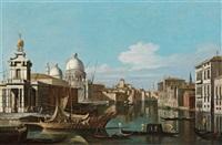 blick auf den canal grande mit der punta della dogana und der salute kirche, la punta della dogana con la basilica della salute by jacopo fabris