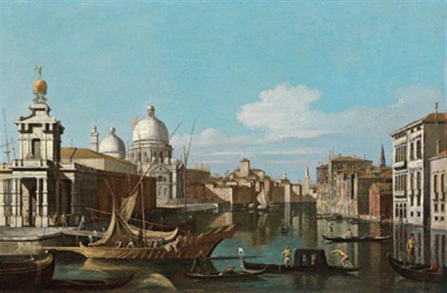 blick auf den canal grande mit der punta della dogana und der salute kirche la punta della dogana con la basilica della salute by jacopo fabris