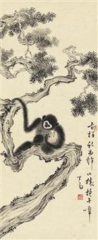 古柏山猿图 (monkeys on cypress tree) by pu ru