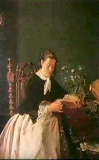 lesendes madchen an einem tisch mit buchern und       blumenstrauss by elizabeth e. bundy