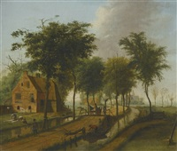 landscape with a brick house and a horsecart alongside a canal by johannes huibert (hendric) prins