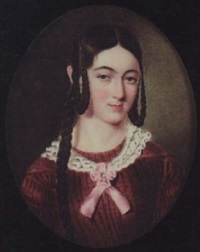 miss jane wright wearing burgundy-coloured dress and white frilled collar tied with pink ribbon by john simpson