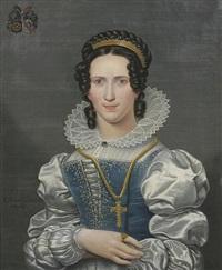 bildnis einer jungen dame mit saphirschmuck und goldenem kreuz by christiaan kramm