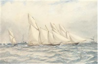schooner yachts battling it out at the finish by richmond markes