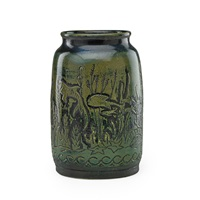 vase incised with underwater scene by viktor schreckengost