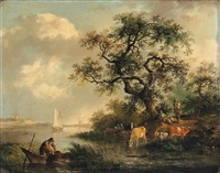 a river landscape with a fisherman, drovers and their herd, a town and a church beyond by fredericus theodorus renard