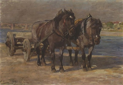 pferdewagen am fluss by emanuel hegenbarth