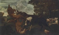 hounds and foxes in a wooded landscape by frans snyders