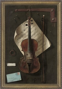 a tromp l'oeil with violin, a sheet of music and an envelope by w.g. becker