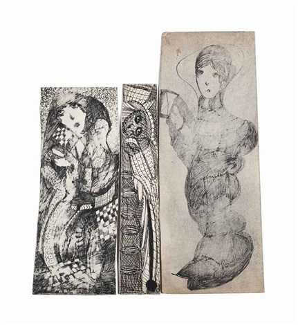 three female figures 3 works by madge gill